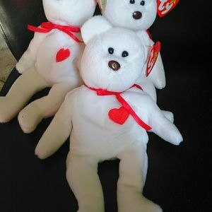 Three (3) Beanie Babies Baby White Bear PE PVC
